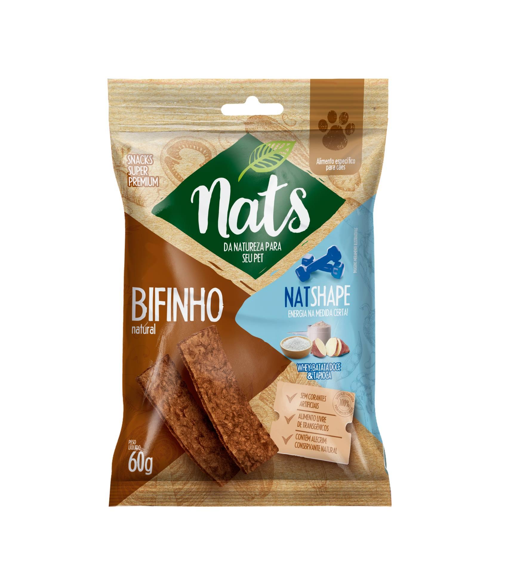 BIFINHO NATURAL PARA CÃES NATSHAPE 60G - NATS