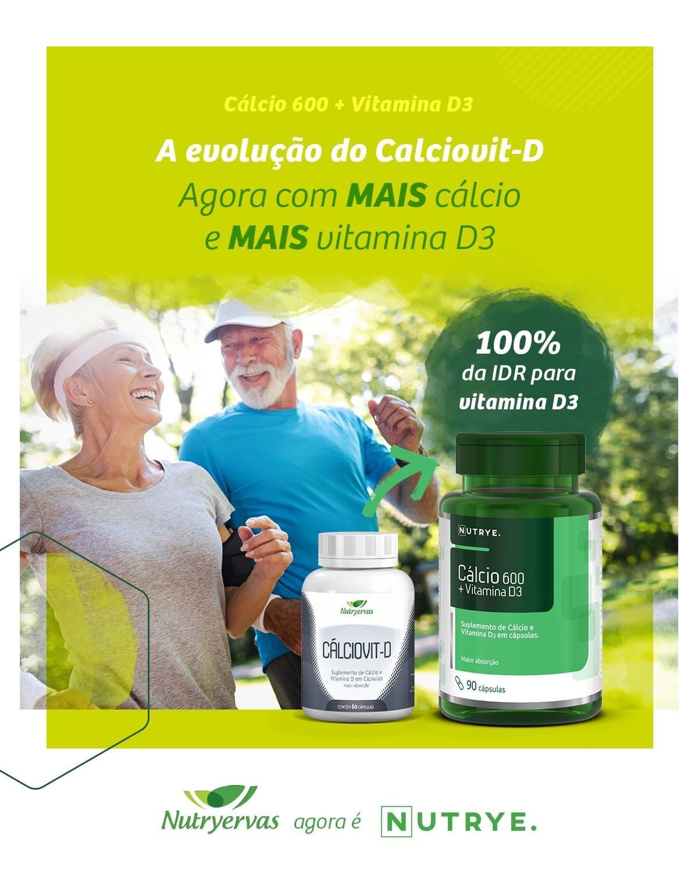 CÁLCIO 600 + VITAMINA D3 90 CÁPSULAS - NUTRYERVAS