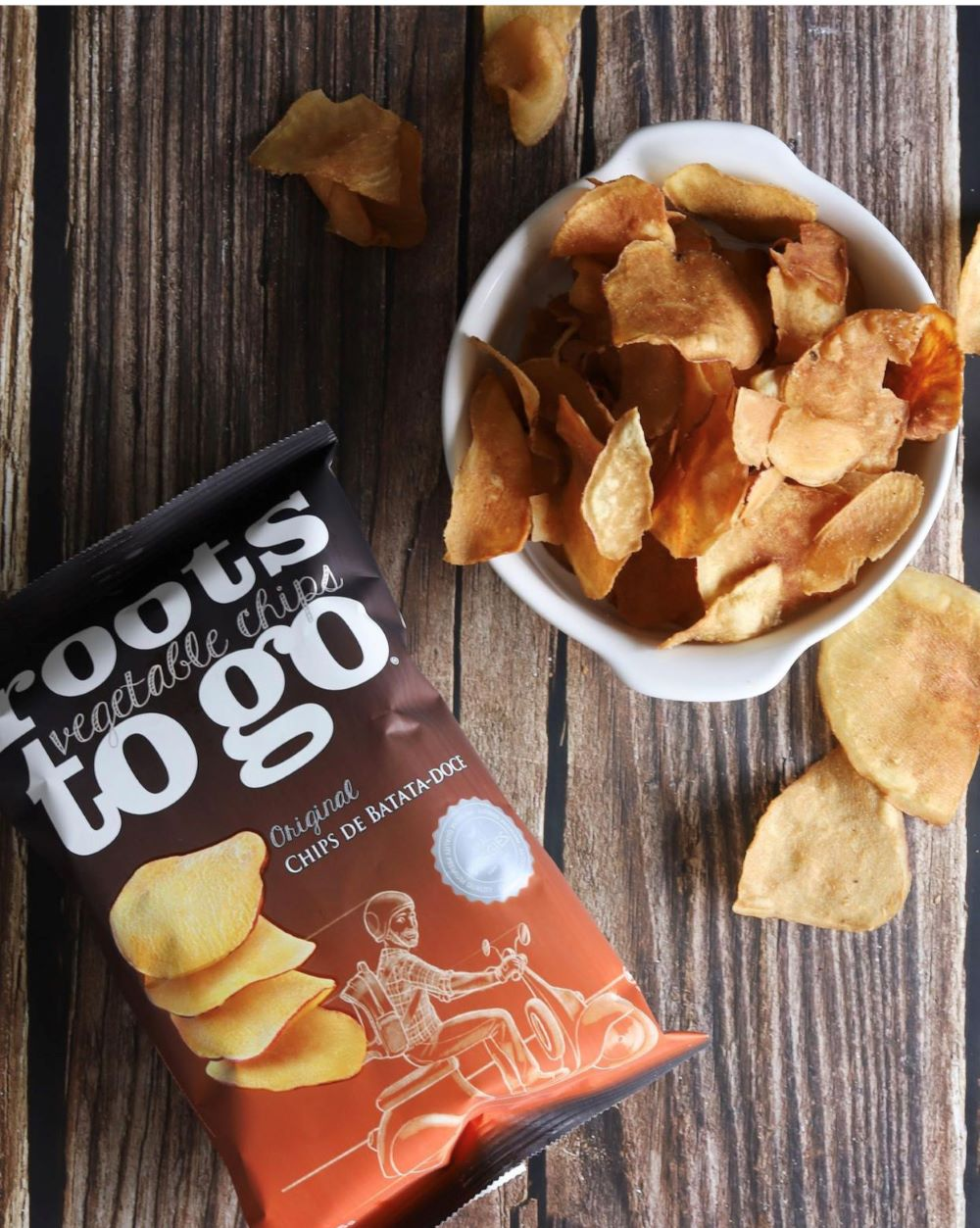 CHIPS DE BATATA-DOCE 45G - ROOTS TO GO