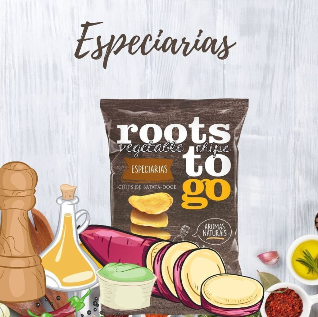 CHIPS DE BATATA-DOCE ESPECIARIAS 45G - ROOTS TO GO