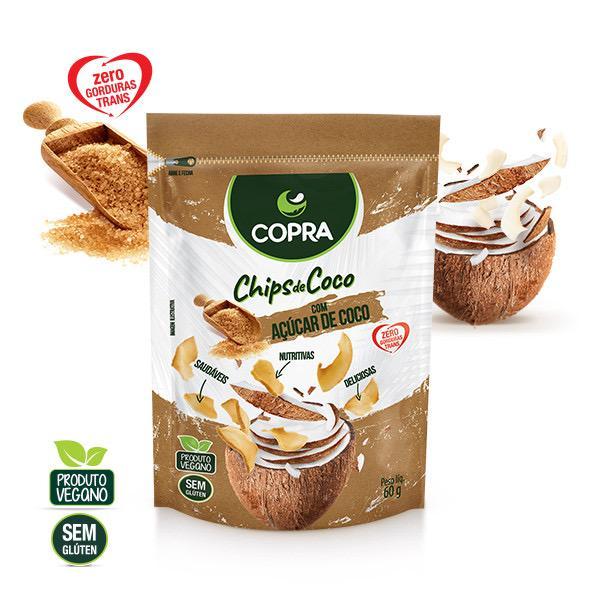 CHIPS DE COCO COM AÇÚCAR COCO 60G - COPRA
