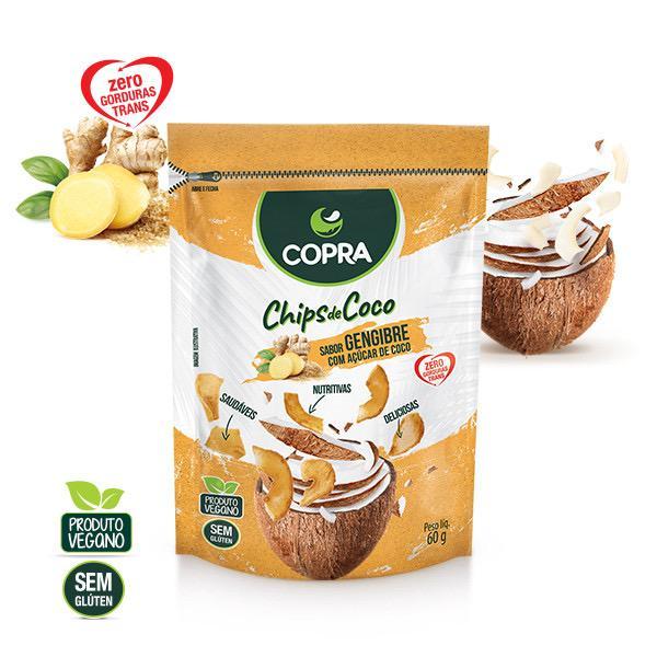 CHIPS DE COCO COM GENGIBRE 60G - COPRA