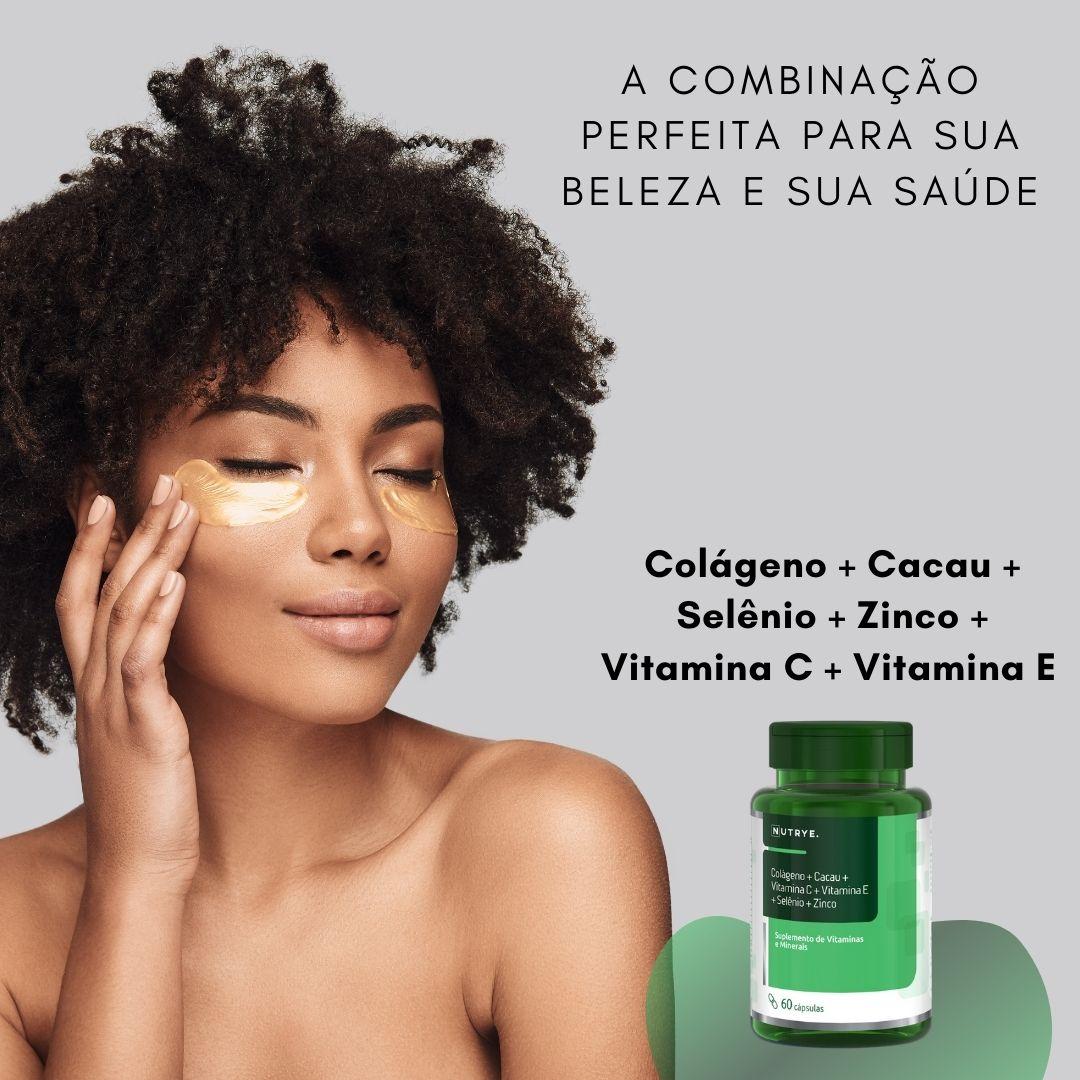 COLÁGENO + CACAU + VITAMINAS C + VITAMINA E + SELÊNIO + ZINCO EM CÁPSULAS