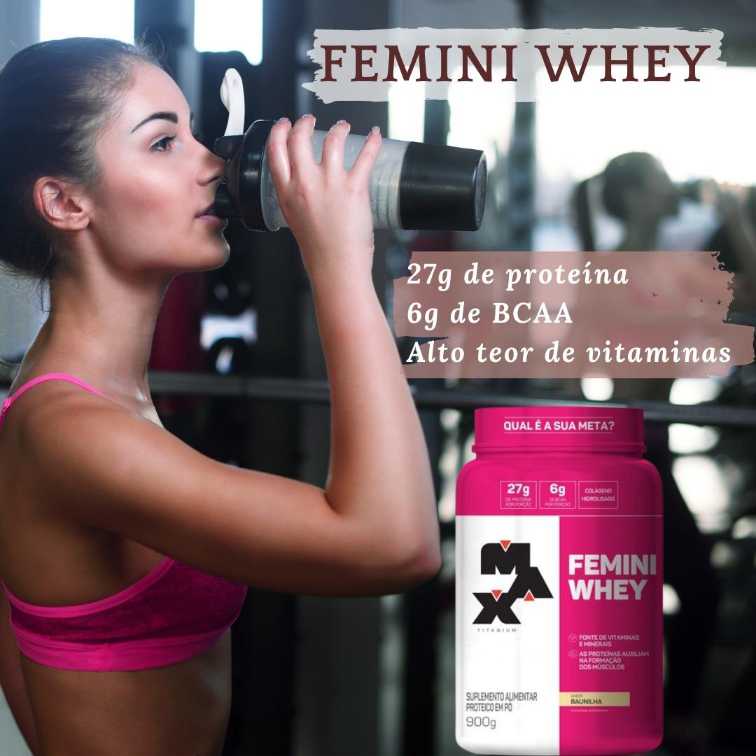 FEMINI WHEY BAUNILHA 900G - MAX TITANIUM