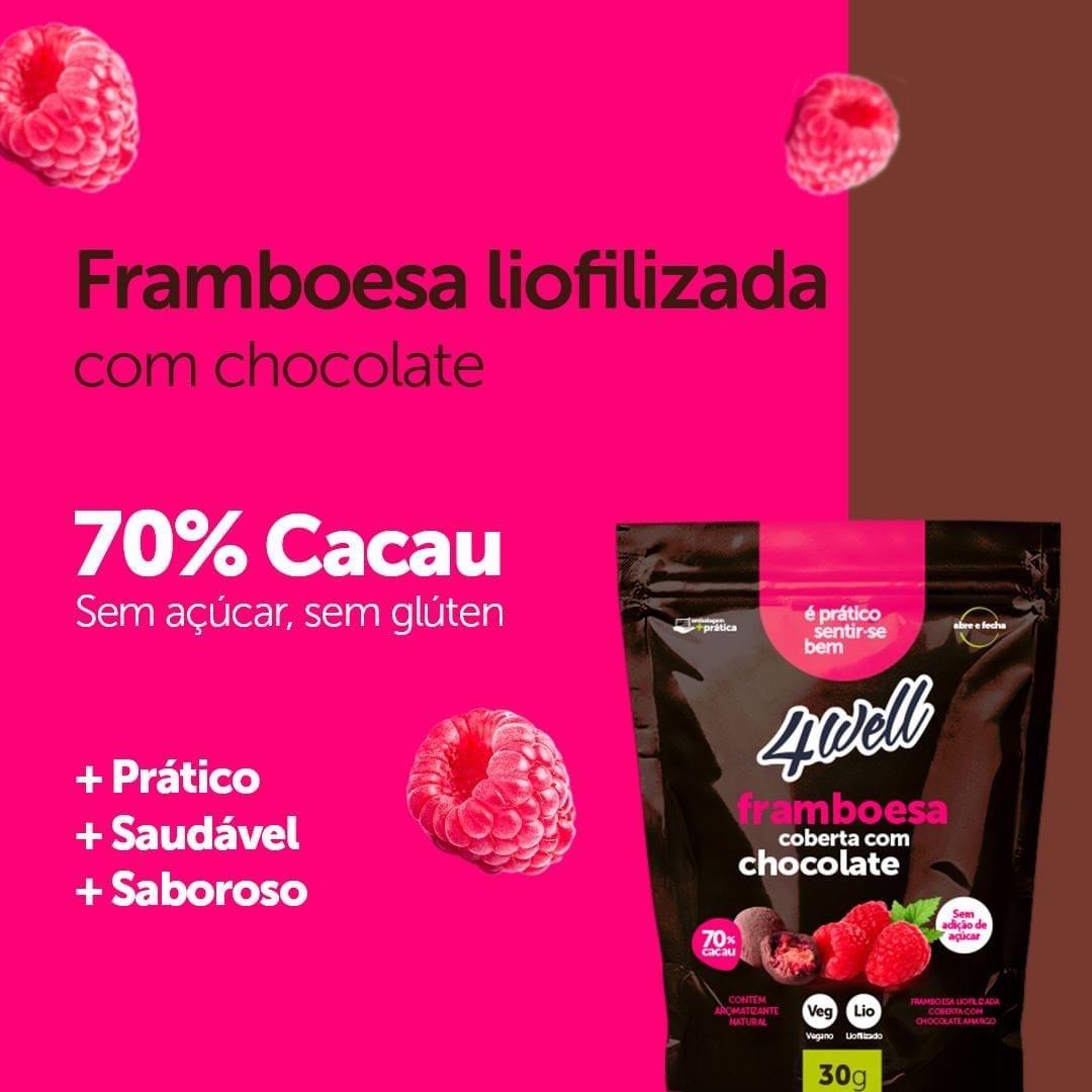 FRAMBOESA LIOFILIZADA COBERTA COM CHOCOLATE AMARGO 30G - 4WELL