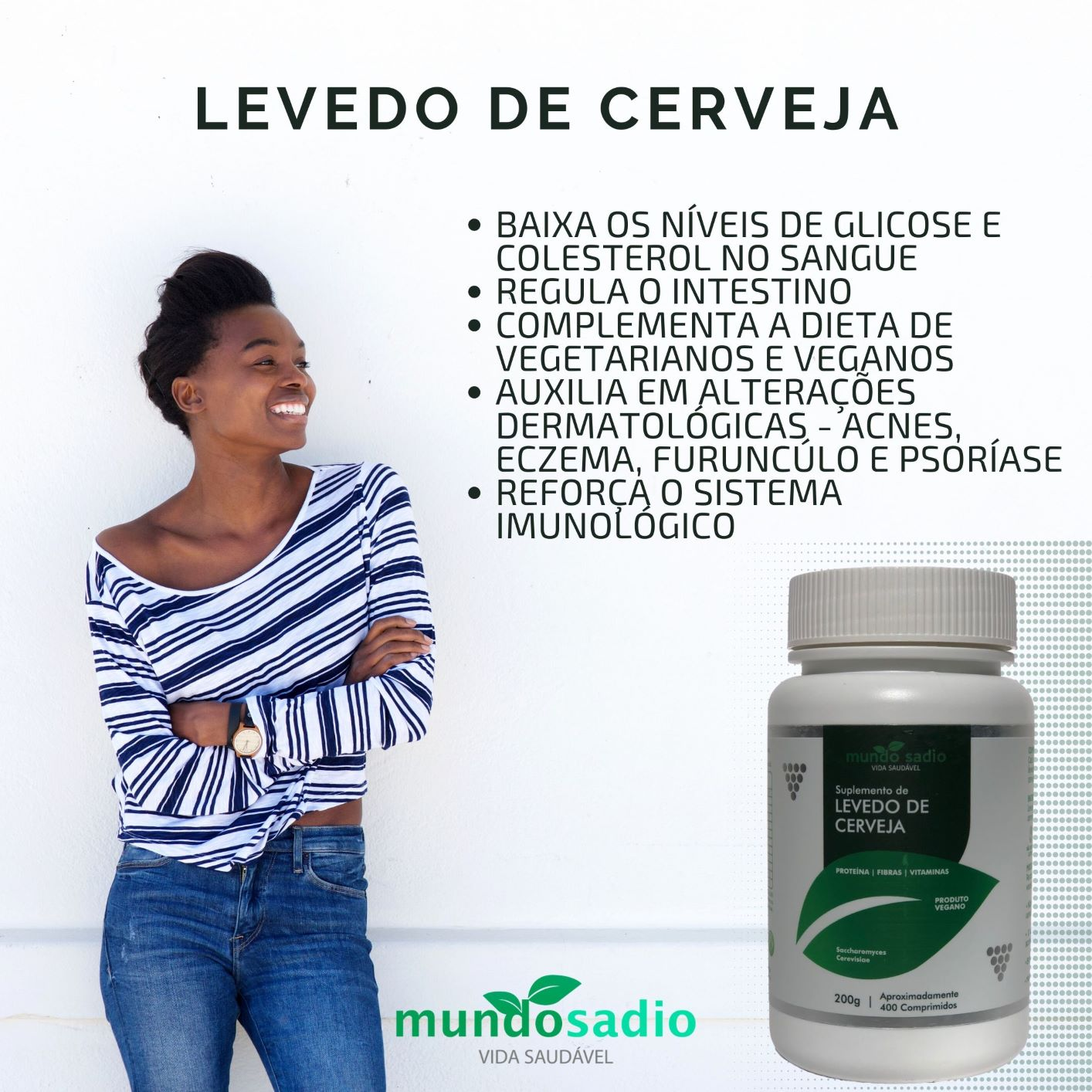 LEVEDO DE CERVEJA MUNDO SADIO 400 COMPRIMIDOS