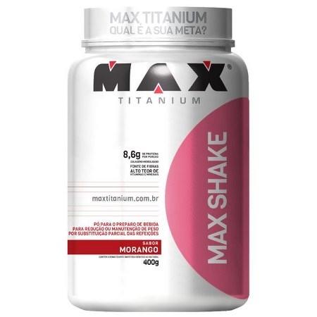 MAX SHAKE MORANGO 400G - MAX TITANIUM