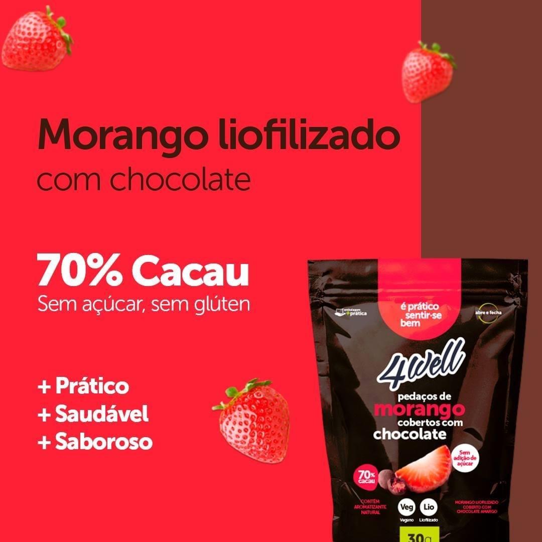 MORANGO LIOFILIZADO COBERTO COM CHOCOLATE AMARGO 30G - 4WELL