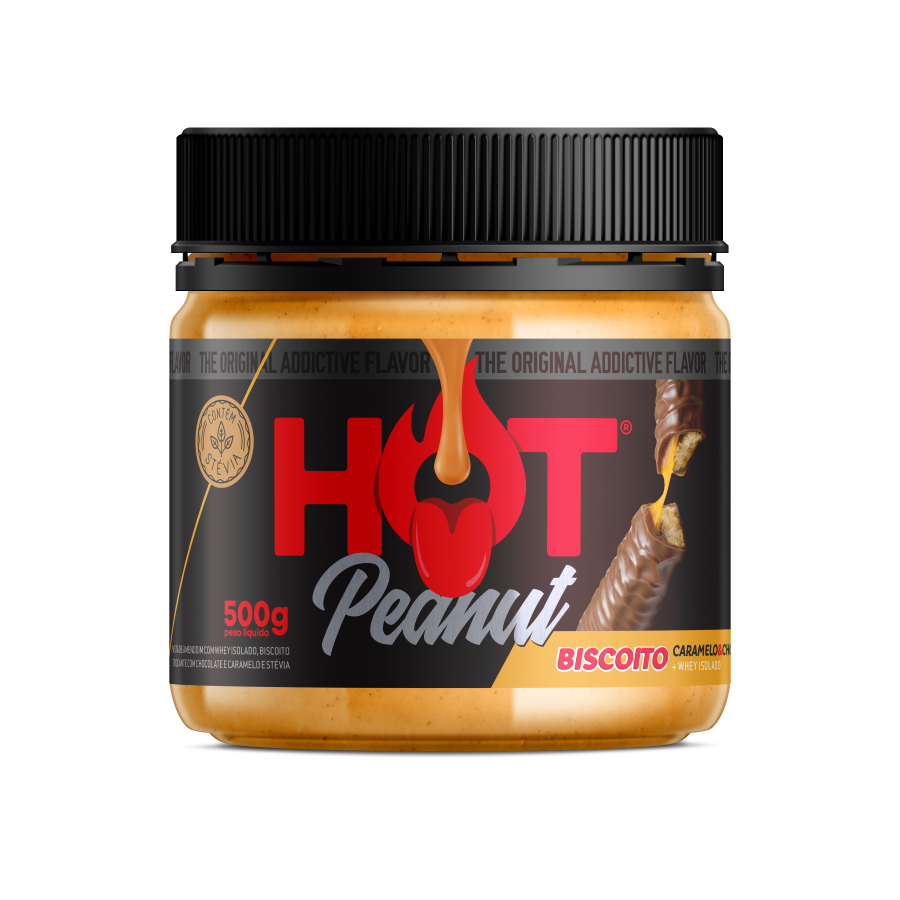PASTA DE AMENDOIM HOT PEANUT BISCOITO DE CARAMELO & CHOCOLATE 500G - HOT FIT