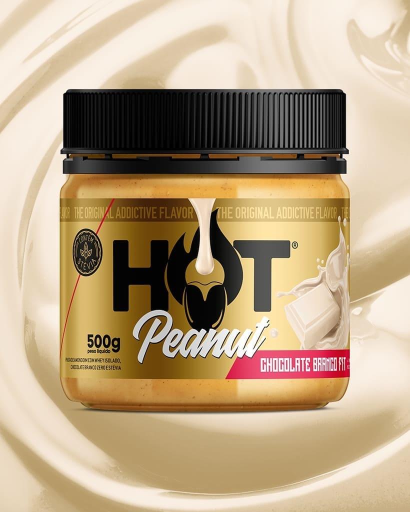 PASTA DE AMENDOIM HOT PEANUT CHOCOLATE BRANCO 500G - HOT FIT
