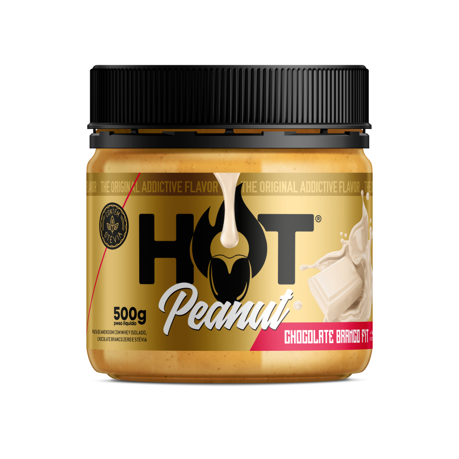 PASTA DE AMENDOIM HOT PEANUT CHOCOLATE BRANCO 500G - HOT FIT
