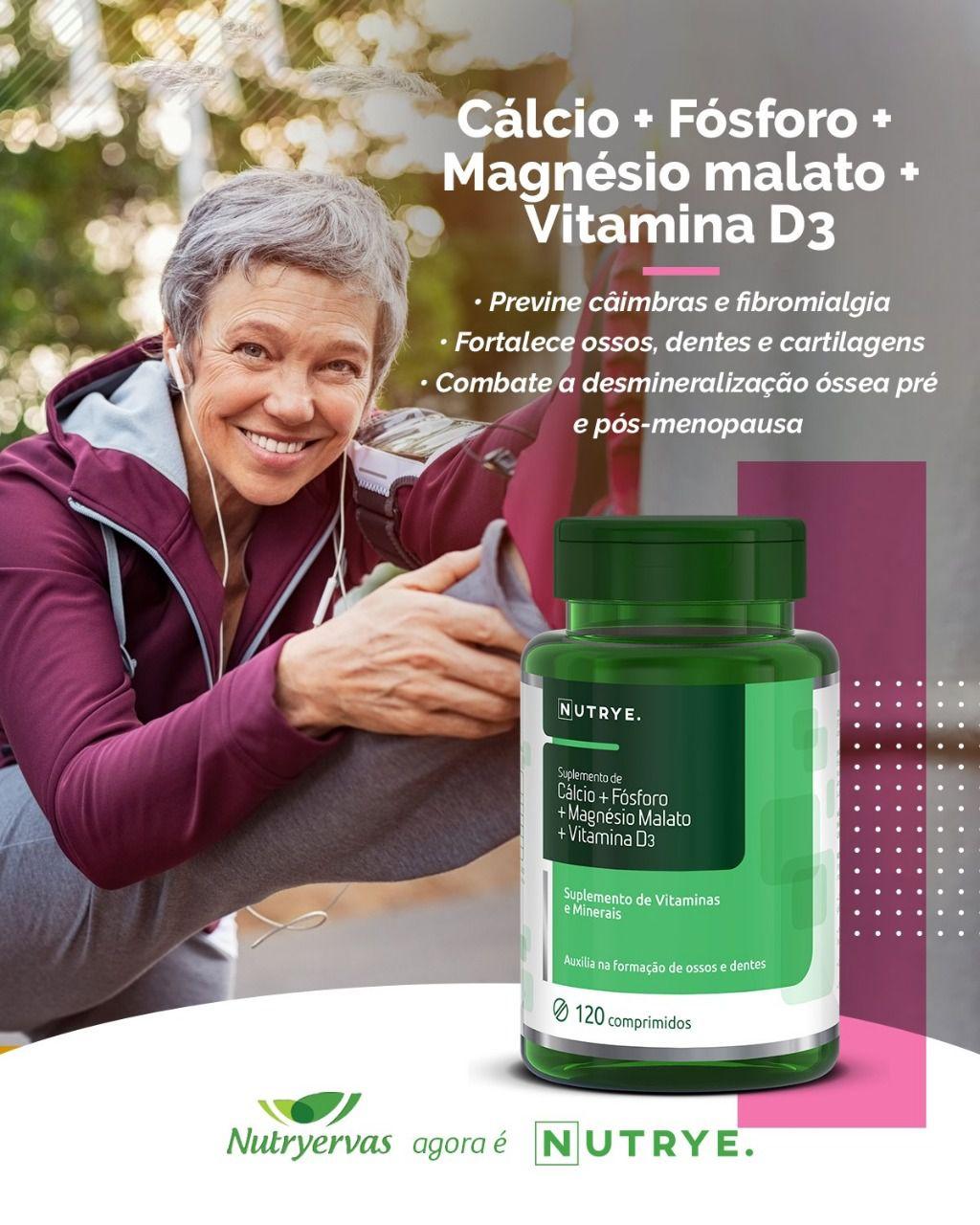 SUPLEMENTO DE CÁLCIO + MAGNÉSIO MALATO + VITAMINA D3 + FÓSFORO 120 COMPRIMIDOS - NUTRYE