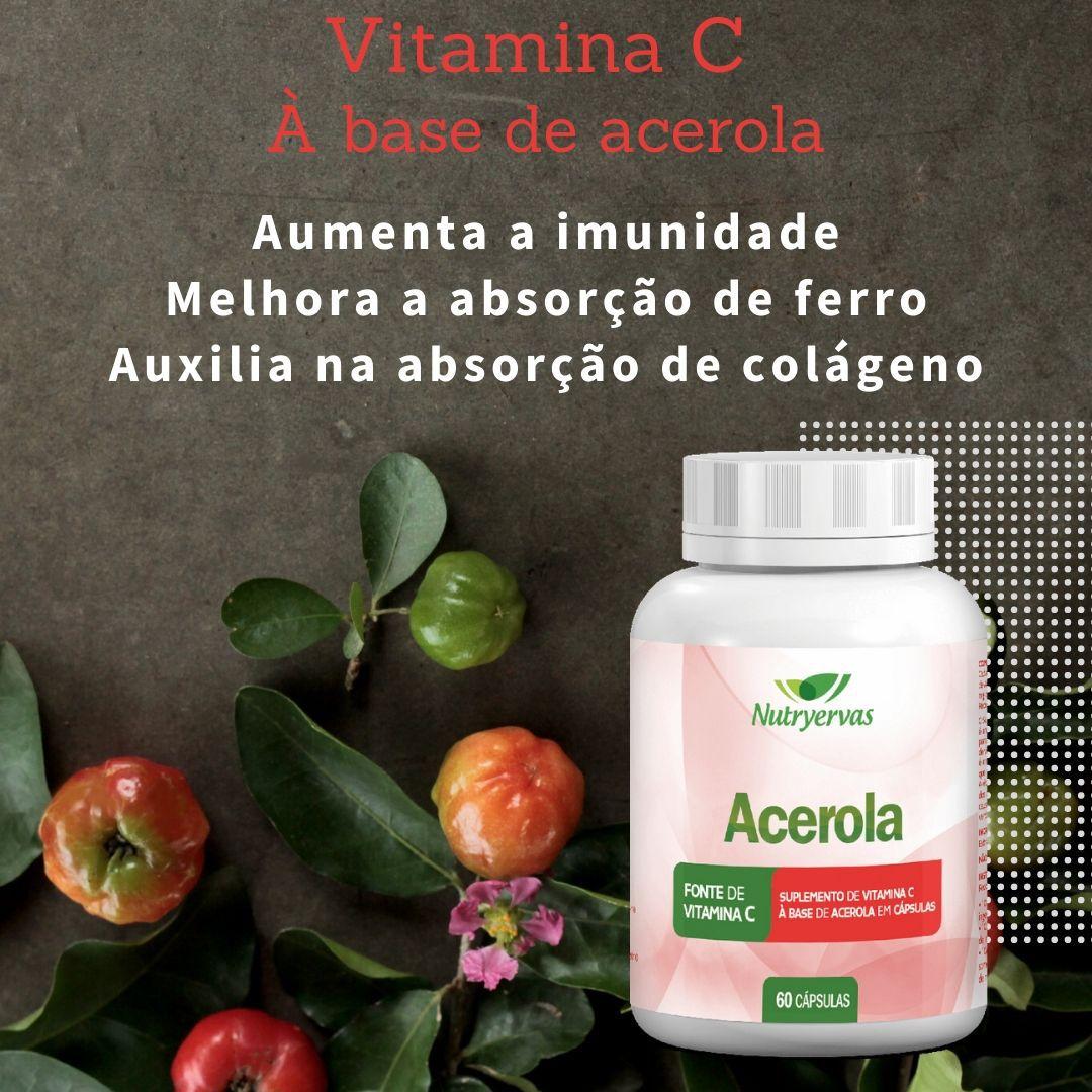 VITAMINA C À BASE DE ACEROLA 60 CÁPSULAS - NUTRYERVAS
