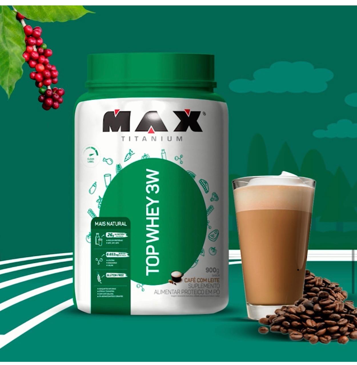 TOP WHEY 3W MAIS NATURAL CAFÉ COM LEITE 900G - MAX TITANIUM