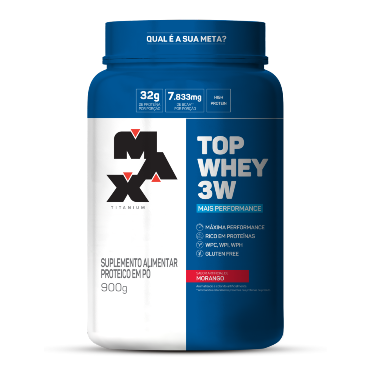 TOP WHEY 3W + PERFORMANCE MORANGO  900G  - MAX TITANIUM