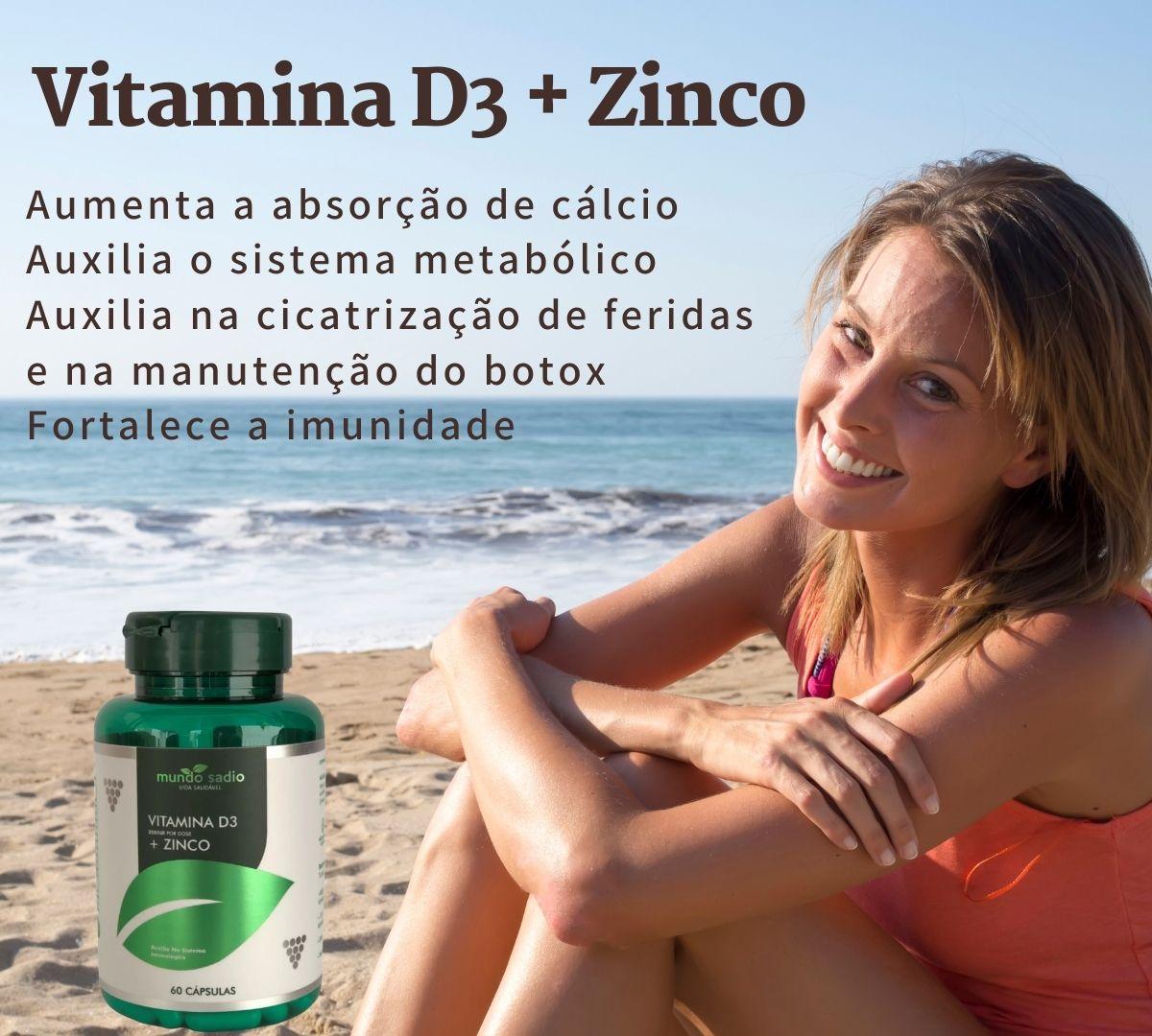VITAMINA D3 + ZINCO MUNDO SADIO 60 CÁPSULAS