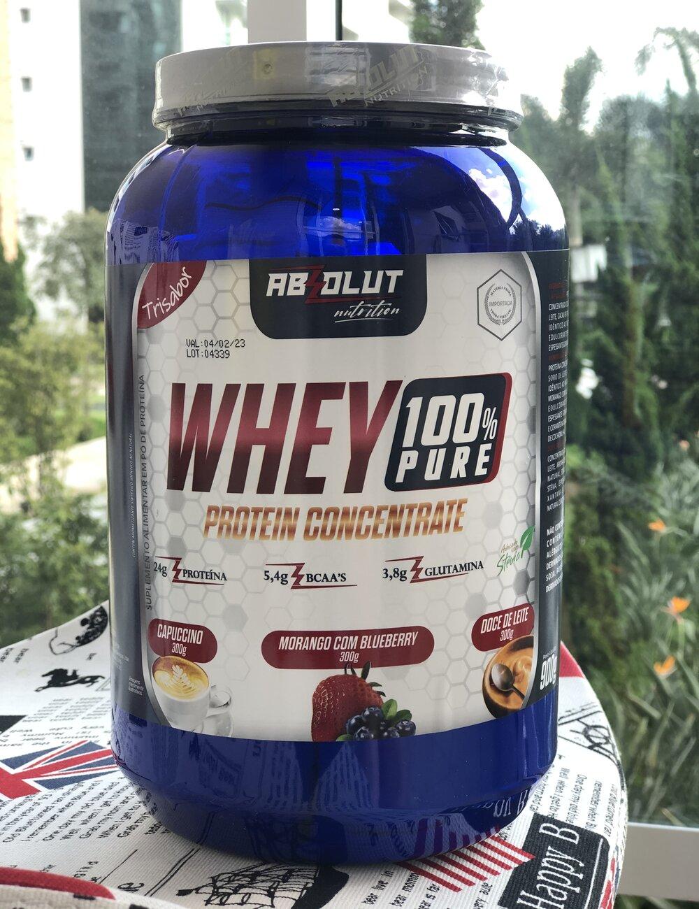 WHEY 100% PURE CONCENTRADO 900G TRI SABOR - ABS NUTRITION