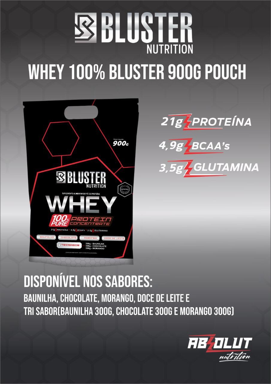 WHEY 100% PURE POUCH 900G BAUNILHA BLUSTER