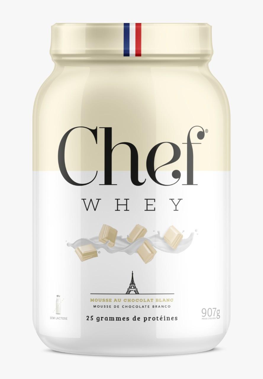 WHEY CONCENTRADO SEM LACTOSE MOUSSE DE CHOCOLATE BRANCO 907G - CHEF WHEY
