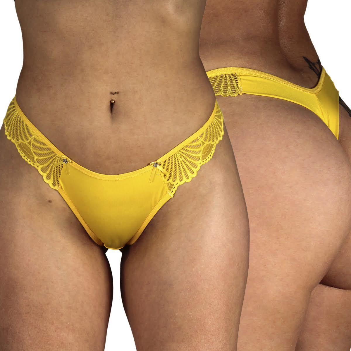 Calcinha Fio Dental Kit Com 3 Lindos Modelos Cor Amarelo - By Sex Lingerie