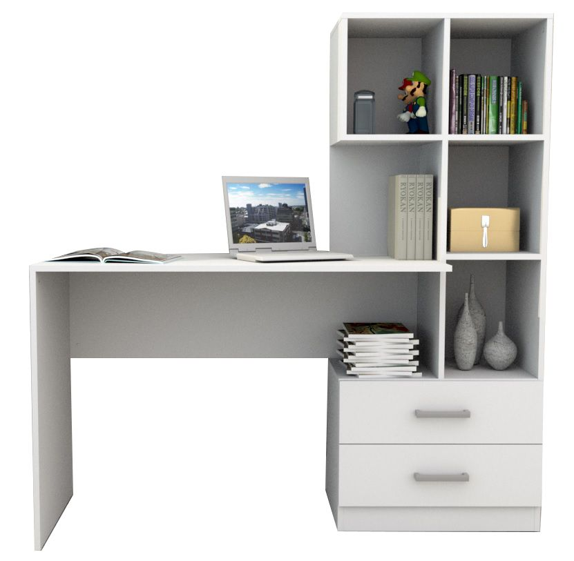 Escrivaninha com armáro e 2 gavetas branco