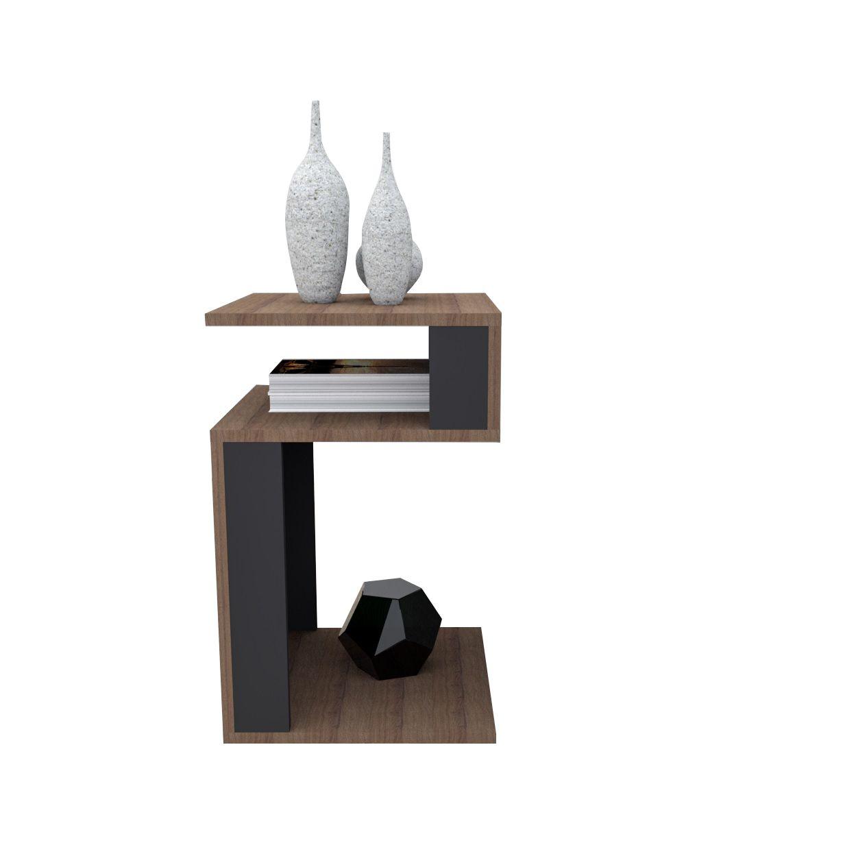 Mesa de canto para sala nogueira e preto