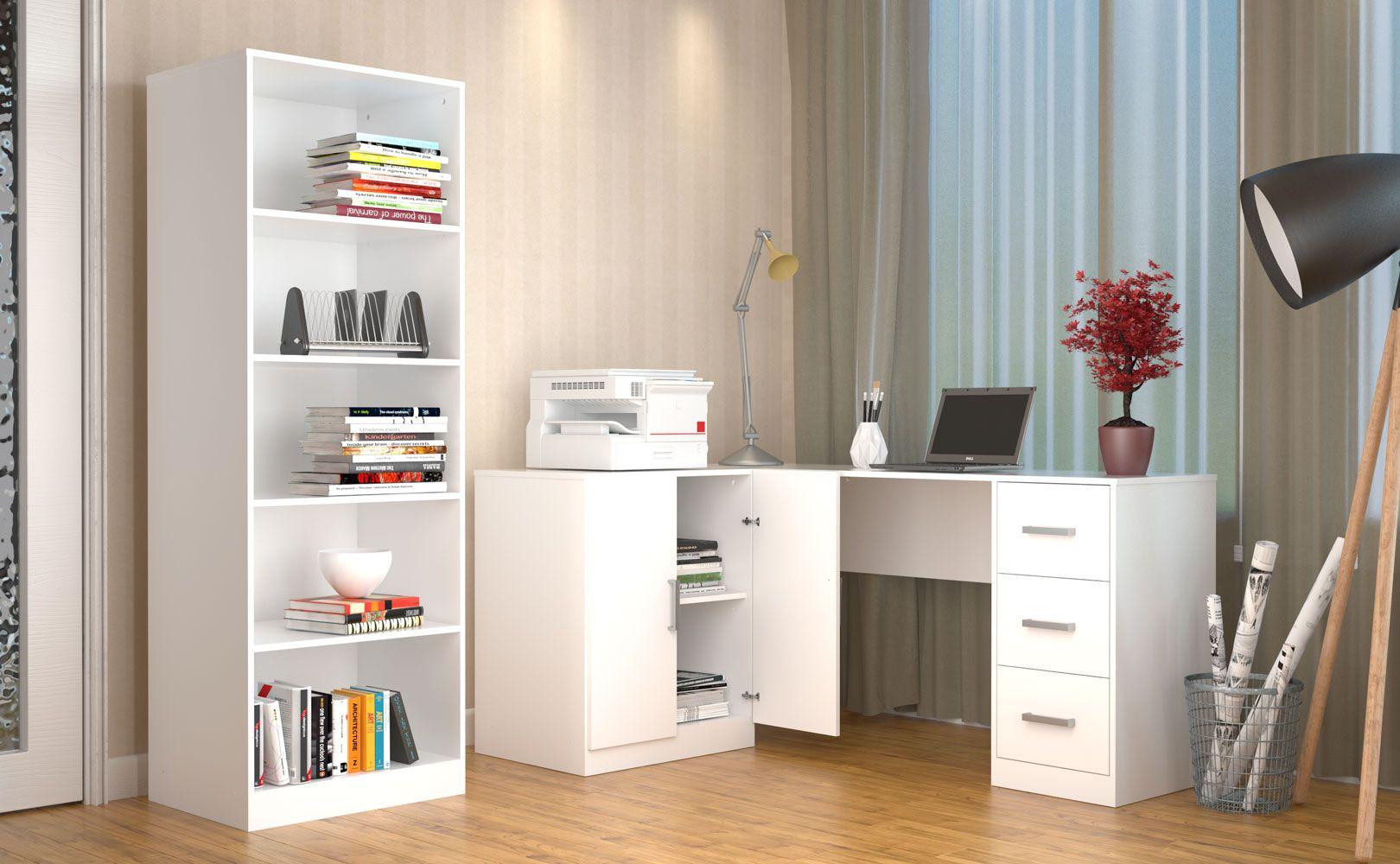 Mesa Escritorio Em L 3 Gavetas E Armario Branco About Home