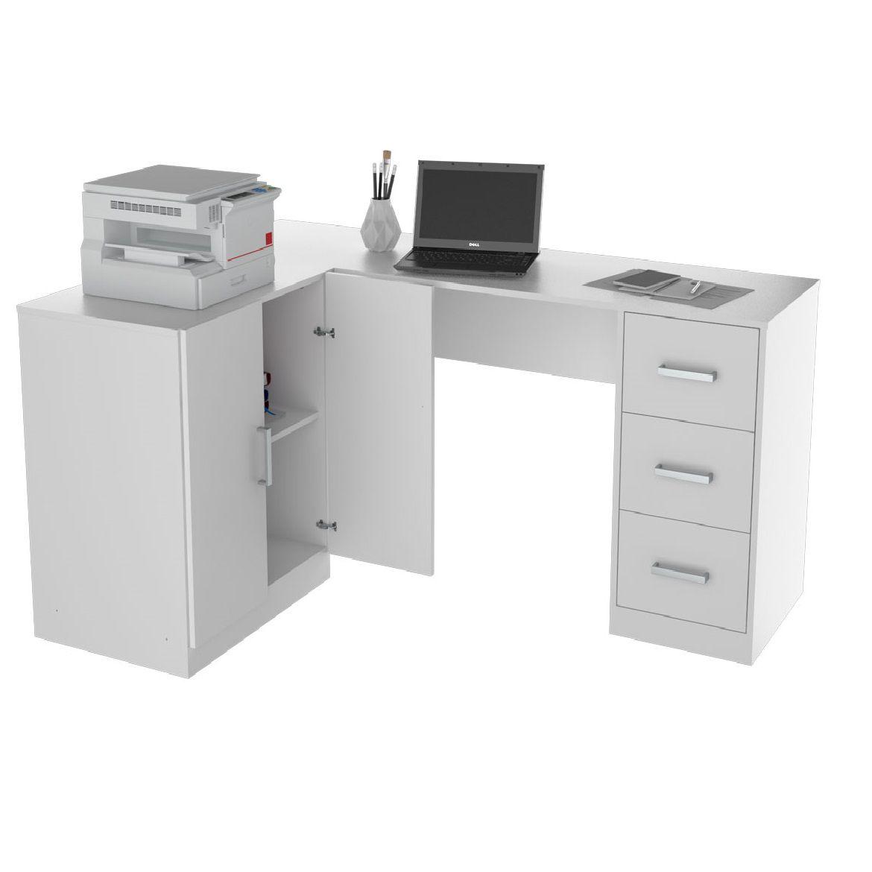 Mesa escritório em l 3 gavetas e armário branco