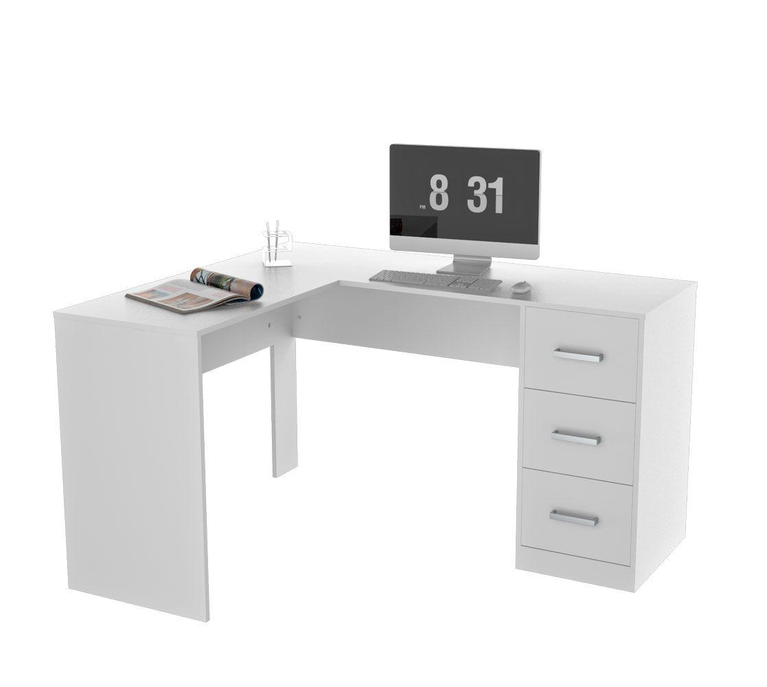 Mesa para escritório em l com 3 gavetas office plus