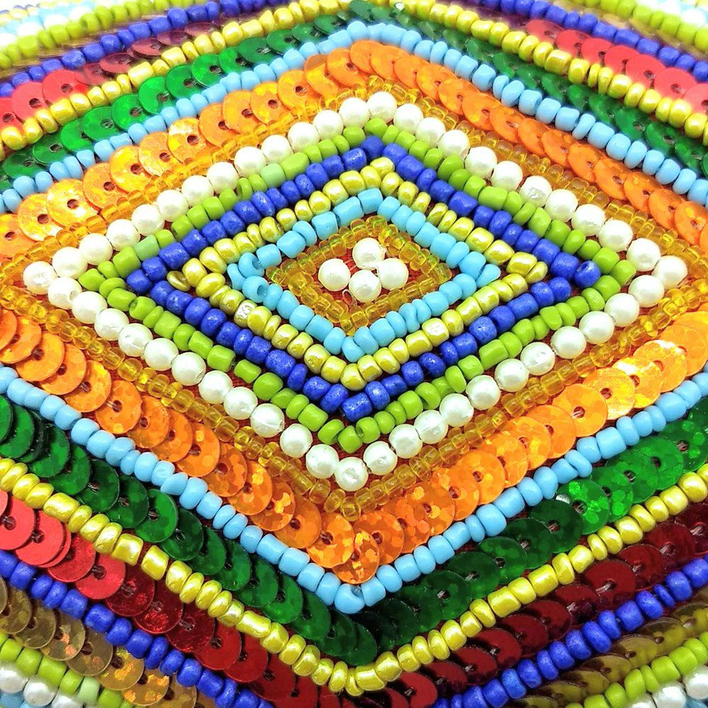 Bolsa Laranja com Paetês Coloridos