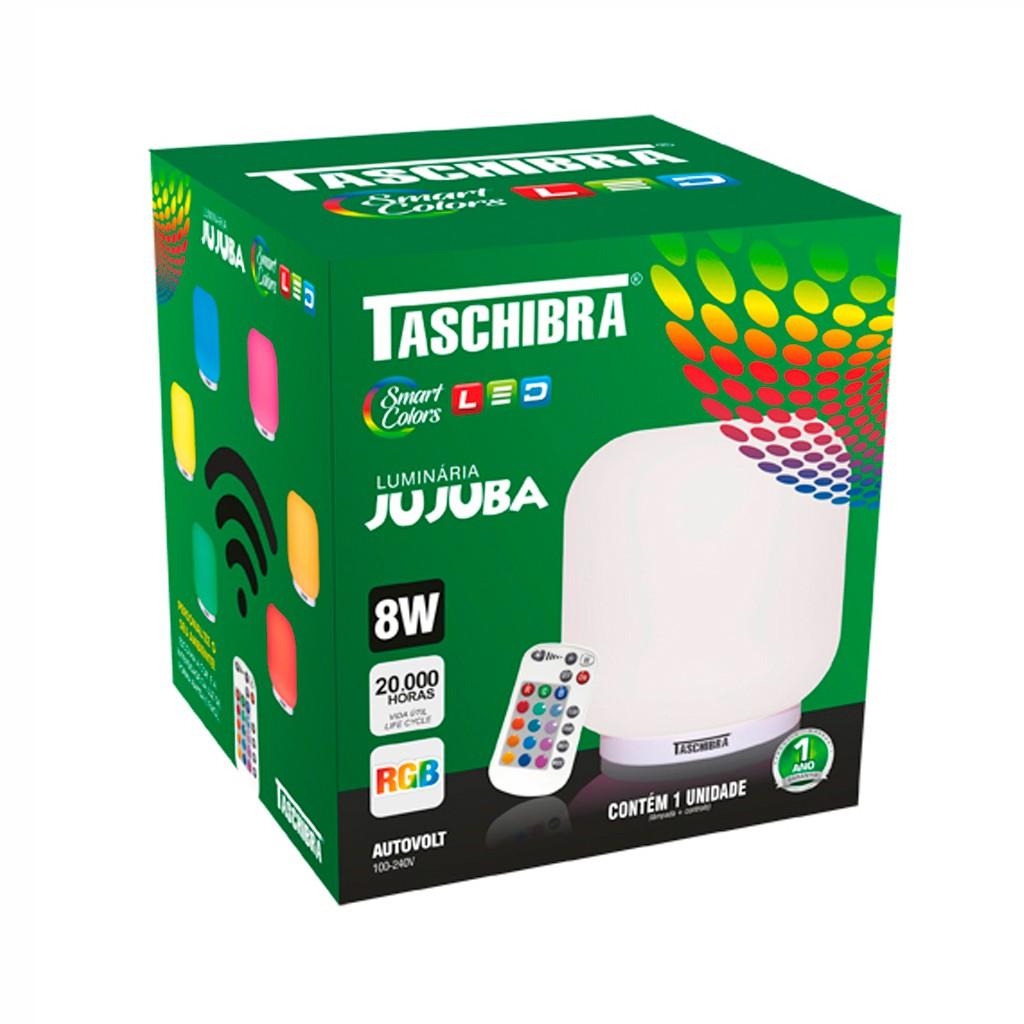 Abajur Jujuba - Muda de cor - LED - Controle Remoto - Cromoterapia  - Taschibra
