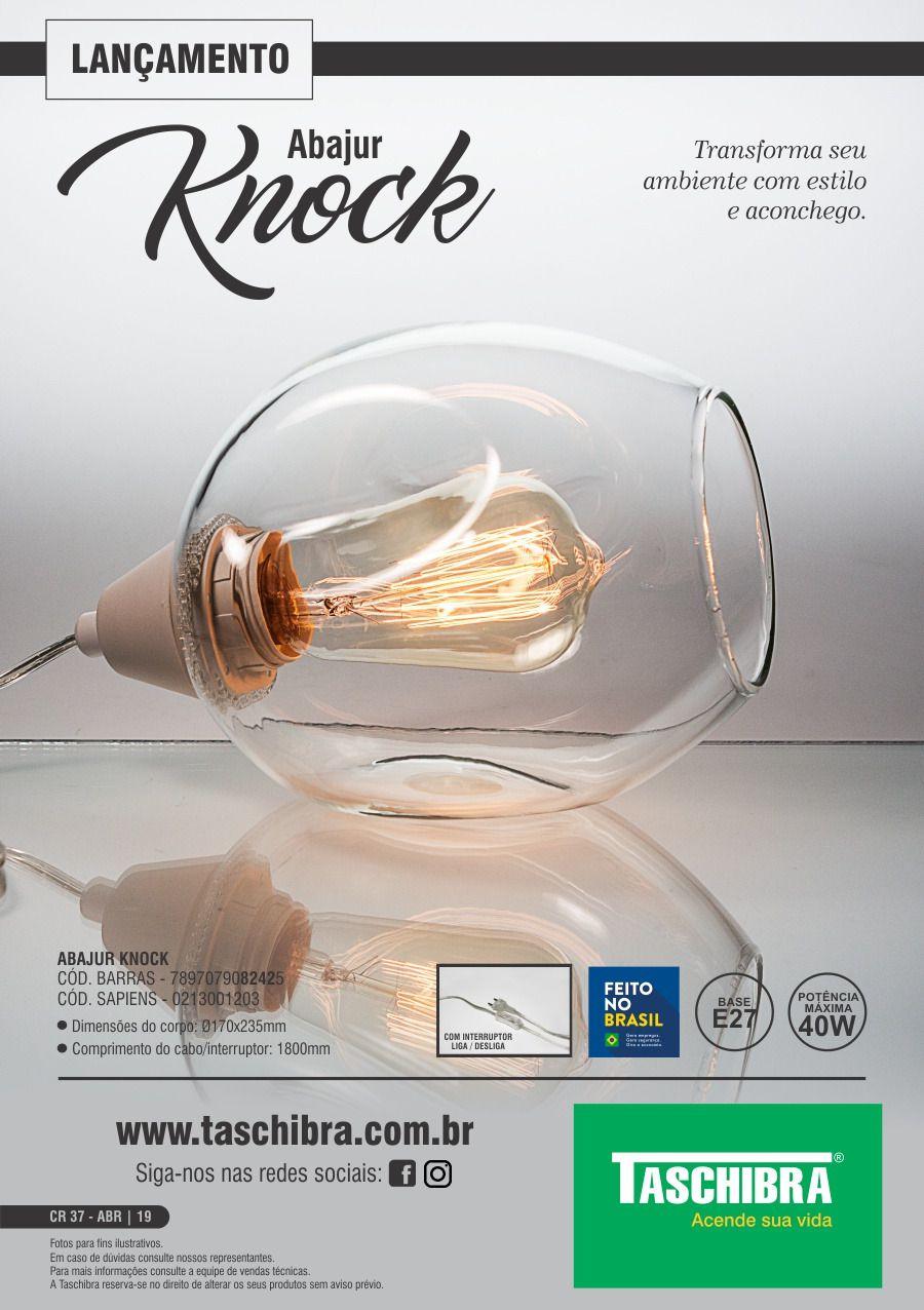 Abajur Knock Transparente - Taschibra