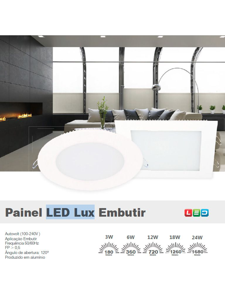 Painel Led Taschibra Led Lux Embutir 6W - Quadrado - 12cm