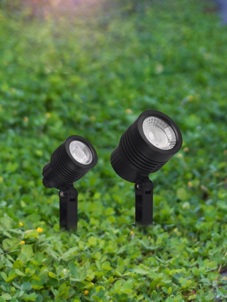 Spot Noir Taschibra para Jardim com espeto - MR11 3W - Luz Verde