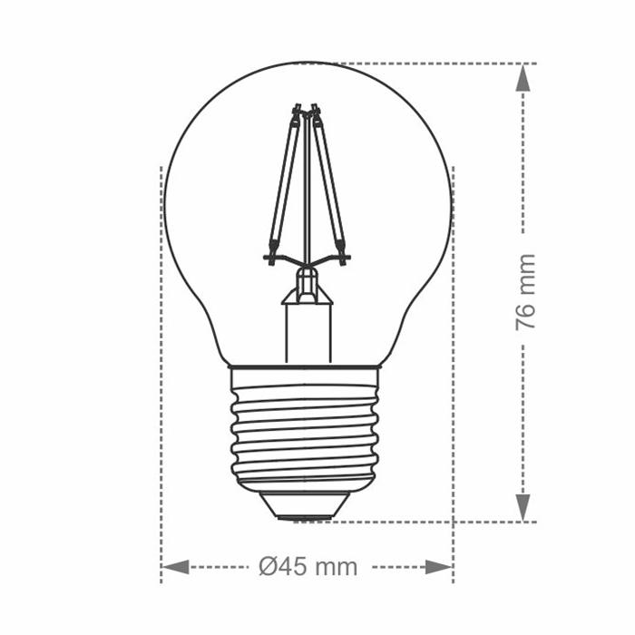 Lâmpada Filamento LED Vintage G45 Âmbar Taschibra