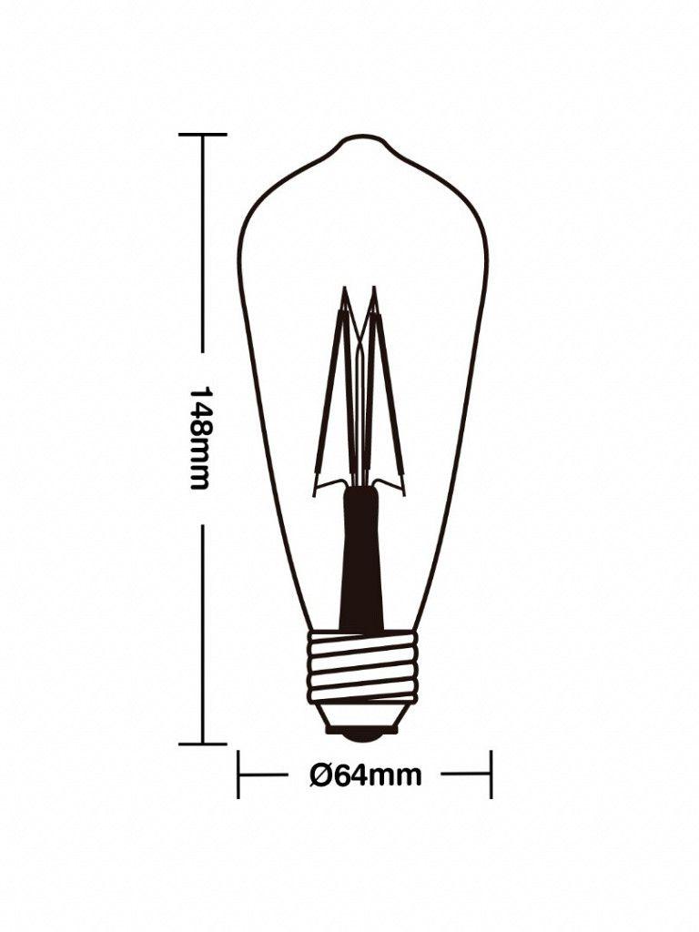 Lâmpada led filamento vintage St64 4W Ambar E27
