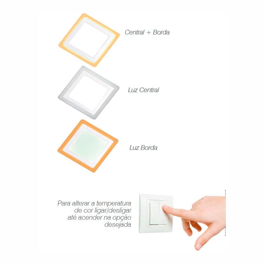 Luminária Painel Dual Color Led Embutir Quadrado 12W+4W