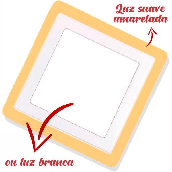 Luminária Painel Dual Color Led Embutir Quadrado 18W+6W