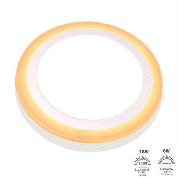 Luminária Painel Dual Color Led Sobrepor Redonda 18W+6W