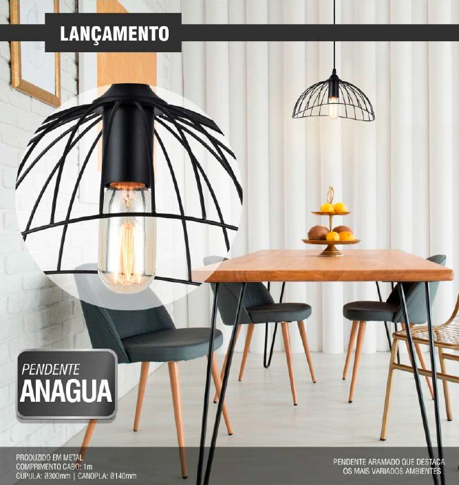 Luminária pendente Anagua Taschibra - 1xE27