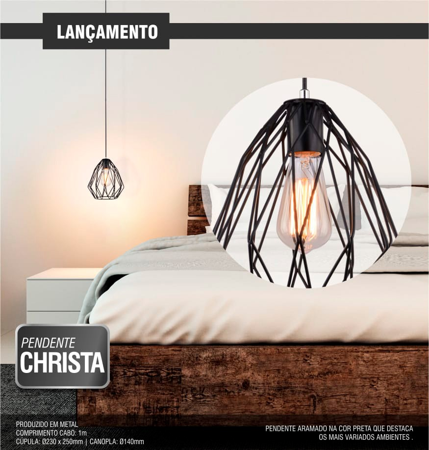 Luminária Pendente Christa Taschibra 1xE27