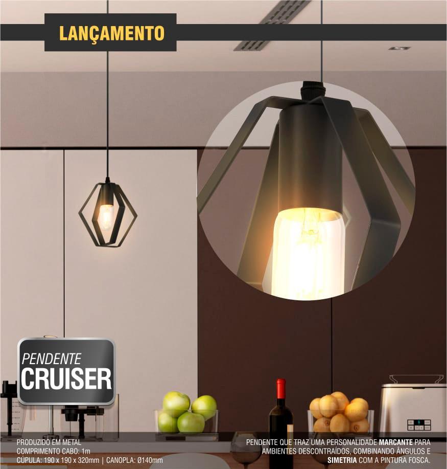 Luminária Pendente Cruiser Taschibra 1xE27 Aramado