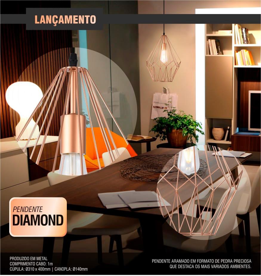 Luminária Pendente Diamond - 1xE27