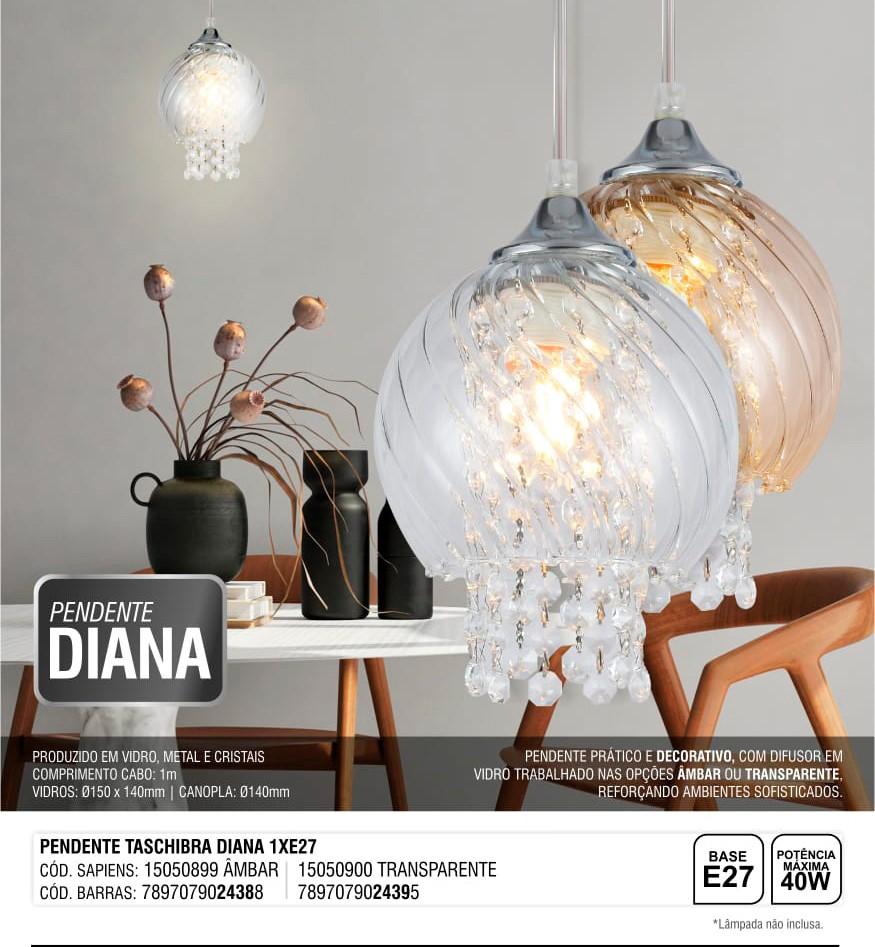 Luminária Pendente Diana Vidro Âmbar Taschibra 1xE27