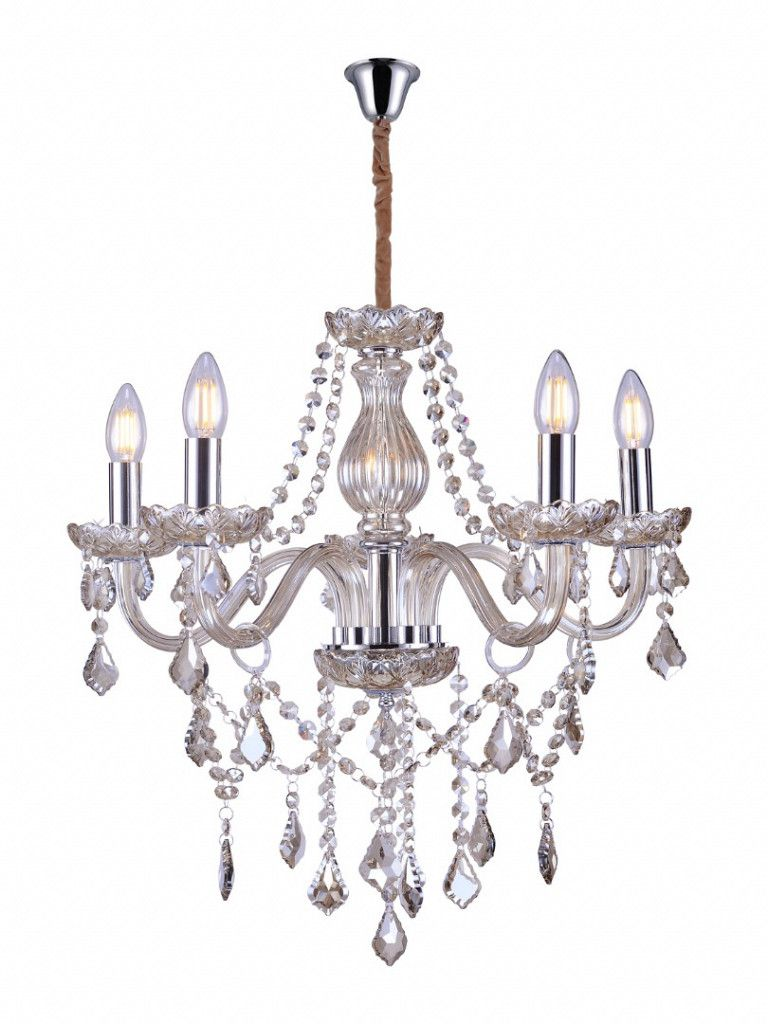Luminária Pendente Lustre Taschibra Glam 5XE14 Transparente