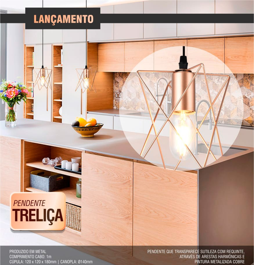 Luminária Pendente Treliça Taschibra - 1xE27
