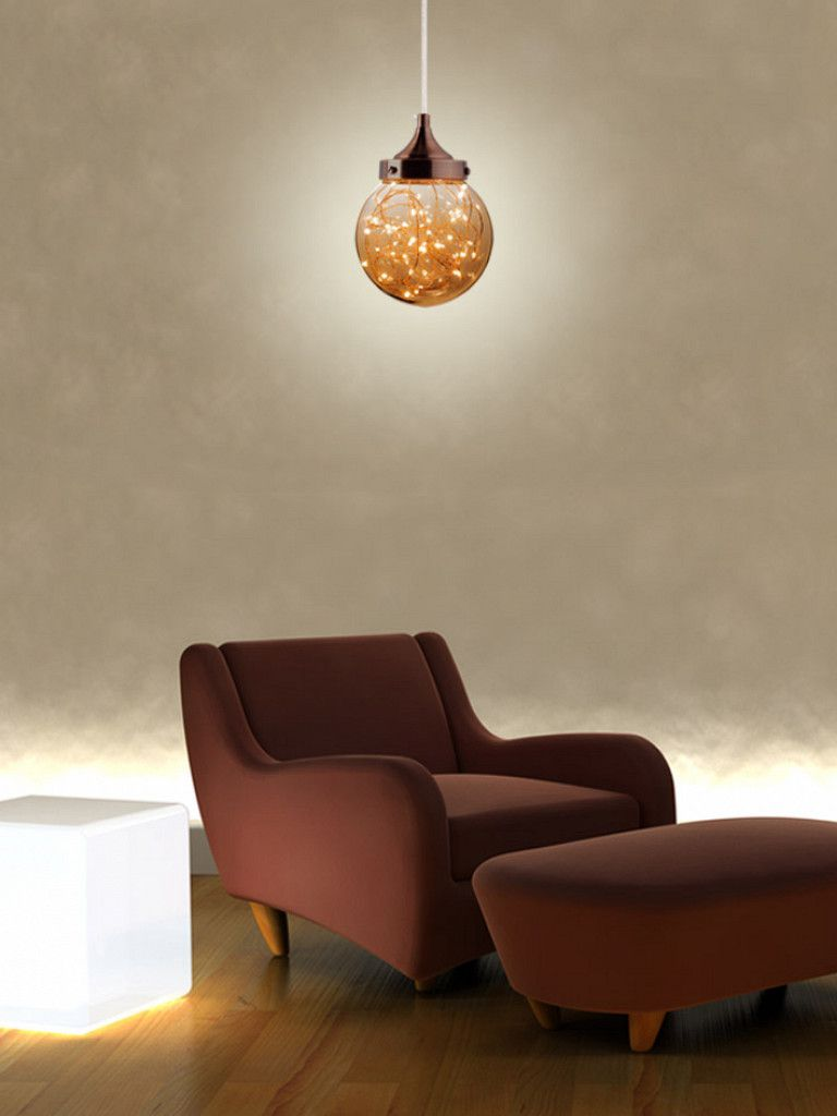 Luminária Pendente Vidro Redondo Led Taschibra Modelo Ara