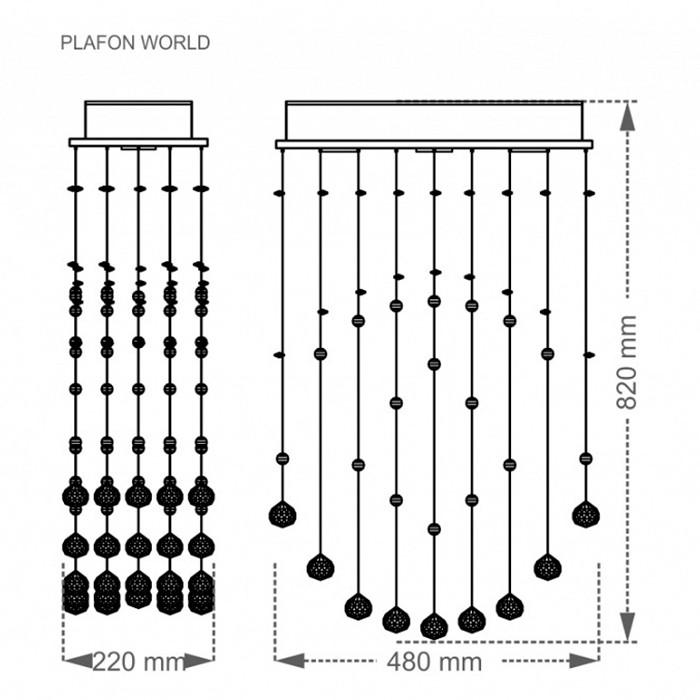 Luminária Plafon Cristal World - Taschibra 3xGU10