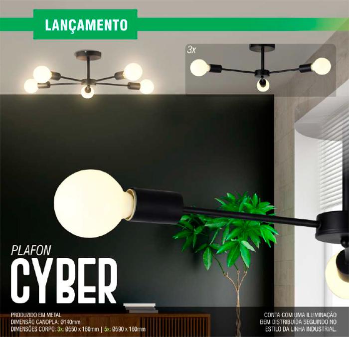 Luminária Plafon Cyber - Taschibra 5xE27
