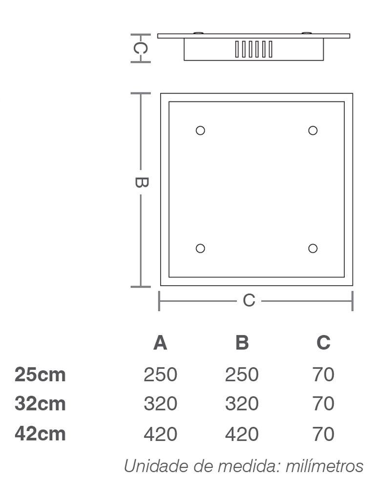 Luminária Plafon Taschibra Modelo Angra Quadrado Vidro Duplo
